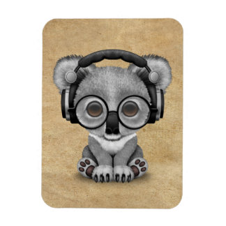 Cute Baby Koala Bear Dj Wearing Headphones Magnet