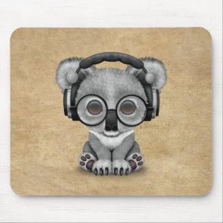 Cute Baby Koala Bear Dj Wearing Headphones Mouse Pad