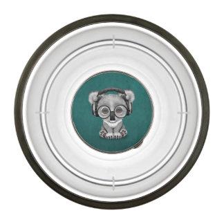 Cute Baby Koala Bear Dj Wearing Headphones on Blue Bowl