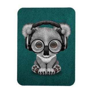 Cute Baby Koala Bear Dj Wearing Headphones on Blue Magnet