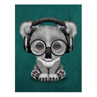 Cute Baby Koala Bear Dj Wearing Headphones on Blue Postcard