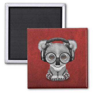 Cute Baby Koala Bear Dj Wearing Headphones on Red 2 Inch Square Magnet