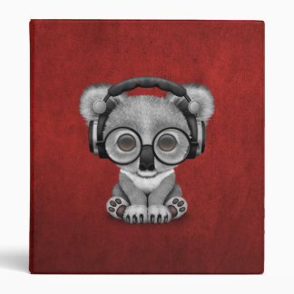 Cute Baby Koala Bear Dj Wearing Headphones on Red 3 Ring Binder
