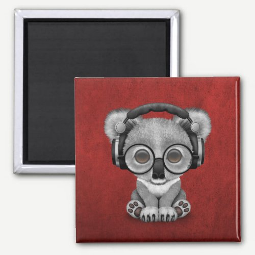 Cute Baby Koala Bear Dj Wearing Headphones on Red Magnet