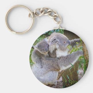 Cute baby koala bear with mom in a tree key chain