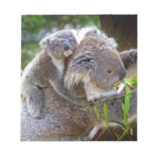 Cute baby koala bear with mom in a tree notepad