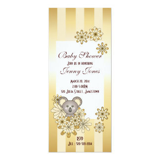 Cute Baby Koala Gold Striped Baby Shower 4x9.25 Paper Invitation Card