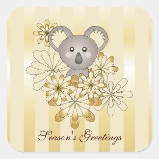 Cute Baby Koala Gold Stripes Kids Christmas Square Stickers