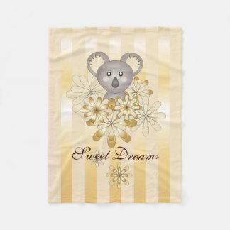 Cute Baby Koala Gold Stripes Kids Personalized Fleece Blanket