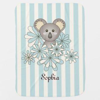Cute Baby Koala Kids Name Pastel Blue Striped Swaddle Blankets