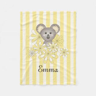 Cute Baby Koala Kids Name Yellow Striped Fleece Blanket