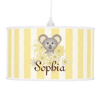 Cute Baby Koala Kids Name Yellow Striped Hanging Lamp