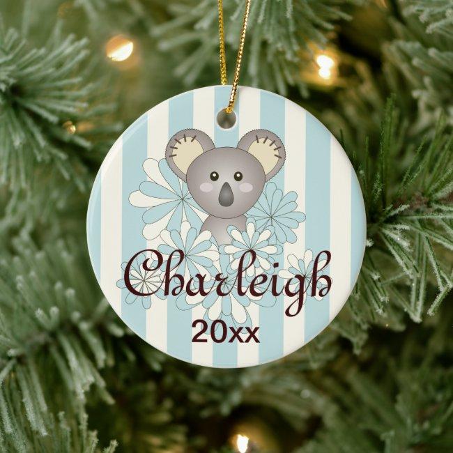 Cute Baby Koala Pastel Blue Stripe Kids Christmas