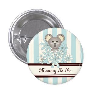 Cute Baby Koala Pastel Blue Striped Baby Shower 1 Inch Round Button
