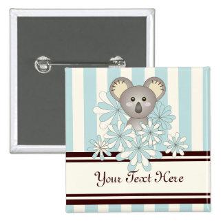 Cute Baby Koala Pastel Blue Striped Personalized 2 Inch Square Button