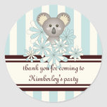 Cute Baby Koala Pastel Blue Striped Personalized Classic Round Sticker