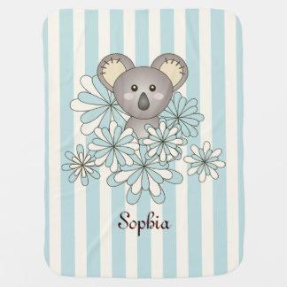 Cute Baby Koala Pastel Blue Stripes Kids Name Swaddle Blankets