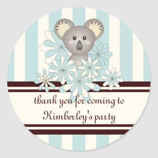 Cute Baby Koala Personalized Pastel Blue Striped Classic Round Sticker