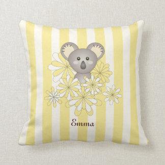 Cute Baby Koala Personalized Yellow Striped Throw Pillow