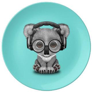 Cute Baby Koala Wearing Headphones Dinner Plate