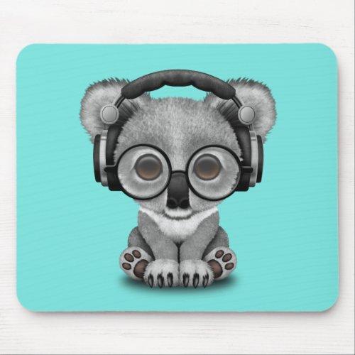 Cute Baby Koala Wearing Headphones Mouse Pad