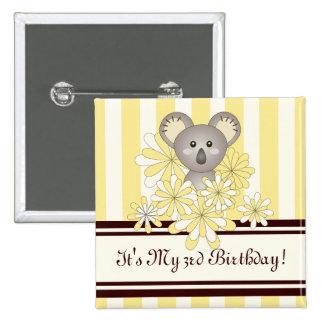 Cute Baby Koala Yellow Striped Kids Birthday 2 Inch Square Button