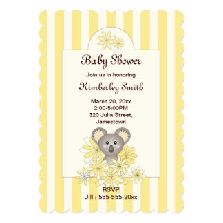 Cute Baby Koala Yellow Striped Neutral Baby Shower Card