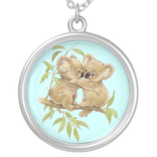 Cute Baby Koalas Round Pendant Necklace
