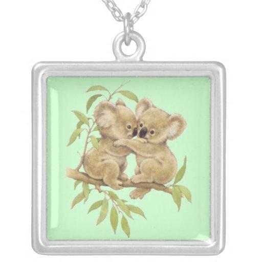 Cute Baby Koalas Square Pendant Necklace