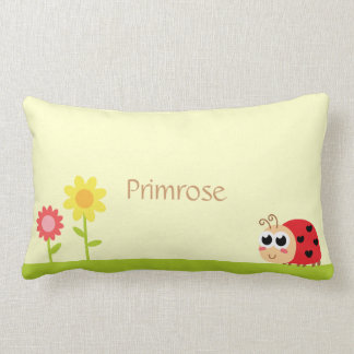 Cute Baby Ladybug with heart spots in a garden Pillows