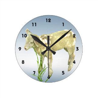 Cute Baby Lamb and Blue Sky Wall Clock