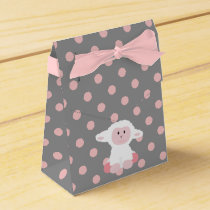Cute Baby Lamb and Pink Polka Dots Girl Favor Box