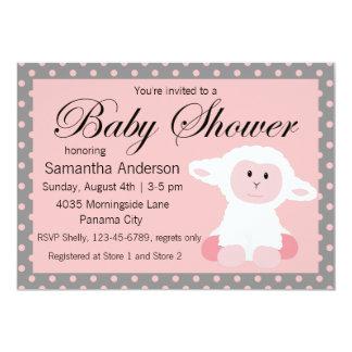 Cute Baby Lamb and Polka Dots Baby Shower Card