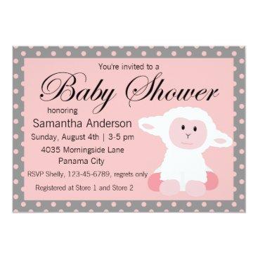 oasis_landing Cute Baby Lamb and Polka Dots Baby Shower Card
