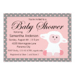 Cute Baby Lamb and Polka Dots Baby Shower 5x7 Paper Invitation Card