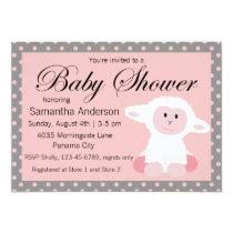 Cute Baby Lamb and Polka Dots Baby Shower Invitation