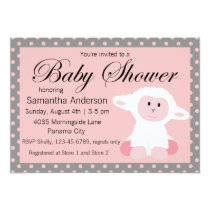 Cute Baby Lamb and Polka Dots Baby Shower Invitation