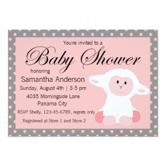 Cute Baby Lamb and Polka Dots Baby Shower 5x7 Paper Invitation Card