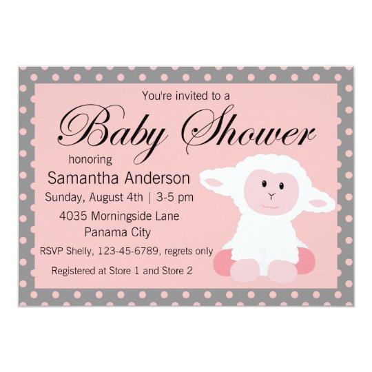 Cute baby lamb and polka dots baby shower invitation zazzle cute baby lamb and polka dots baby shower invitation filmwisefo