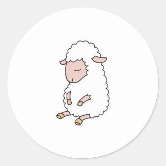 cute baby lamb classic round sticker