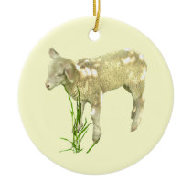 Cute Baby Lamb Eating Grass on Yellow Ornament