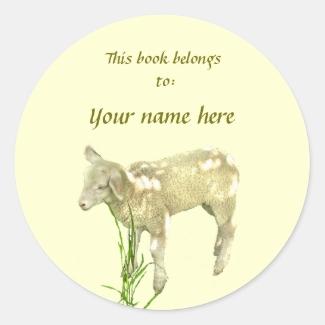 Cute Baby Lamb on Yellow Bookplate