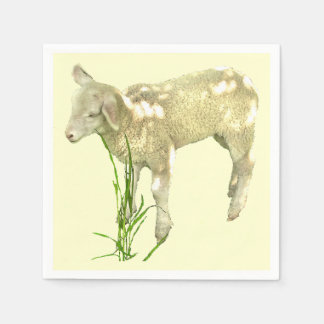 Cute Baby Lamb on Yellow Paper Napkins