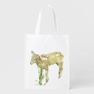 Cute Baby Lamb Reusable Grocery Bag