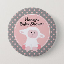 Cute Baby Lamb with Polka Dots Baby Shower Pinback Button
