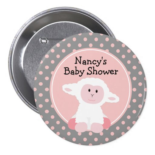 cute baby lamb with polka dots baby shower pinback button zazzle