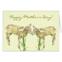 Cute Baby Lambs on Yellow Mothers Day Card