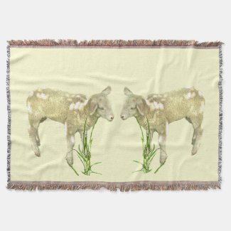 Cute Baby Lambs on Yellow Throw Blanket