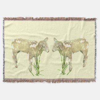 Cute Baby Lambs on Yellow Throw Blanket