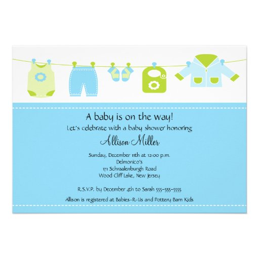 Cute baby laundry clothesline boy baby shower personalized invites